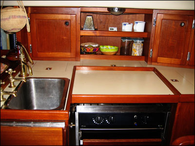 Wind Borne III's galley  - before renovation